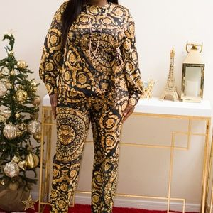 Pants - New ! Baroque print 2pc top and pant set